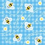 Nahtloses Muster mit lustigen Bienen Stockfotografie