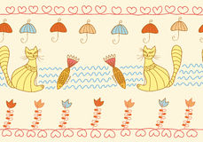 Nahtloses Muster mit lustigen Katzen Stockfotos