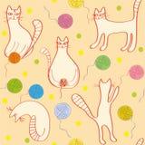 Nahtloses Muster mit lustigen Katzen Lizenzfreie Stockfotos