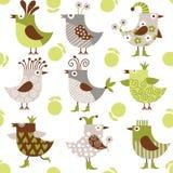 Nahtloses Muster mit lustigen Vögeln Lizenzfreie Stockfotografie