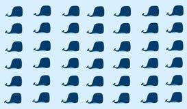 Nahtloses Muster mit lustigen Walen im blauen Hintergrund lizenzfreie abbildung