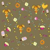 Nahtloses Muster mit Mädchen und süßen Süßigkeiten Stockfotos
