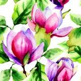 Nahtloses Muster mit Magnolienblumen Lizenzfreies Stockfoto