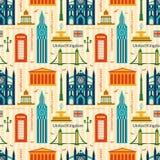 Nahtloses Muster mit Marksteinen von Vereinigtem Königreich Stockfoto