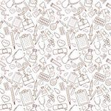 Nahtloses Muster mit medizinischen Ikonen auf weißem Hintergrund Stockfotos