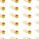 Nahtloses Muster mit mexikanischem Burrito Stockfoto