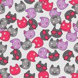Nahtloses Muster mit Miezekatzen Lizenzfreies Stockfoto