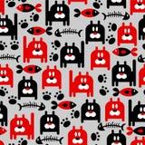Nahtloses Muster mit Miezekatzen Stockbilder