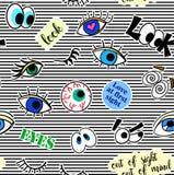 Nahtloses Muster mit Modefleckenausweisen Pop-Art Vector Hintergrundaufkleber, Stifte, Flecken in der komischen Karikatur 80s-90s Stockfoto