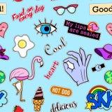 Nahtloses Muster mit Modefleckenausweisen Pop-Art Vector Hintergrundaufkleber, Stifte, Flecken in der komischen Karikatur 80s-90s Lizenzfreies Stockbild