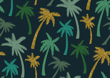 Nahtloses Muster mit modischen tropischen Sommermotiven, exotischen Blättern und Anlagen Stockbild