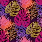 Nahtloses Muster mit modischen tropischen Sommermotiven, exotischen Blättern und Anlagen Stockfoto