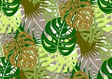 Nahtloses Muster mit modischen tropischen Sommermotiven, exotischen Blättern und Anlagen Lizenzfreies Stockbild