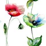 Nahtloses Muster mit Mohnblumen- und Gerber-Blumen Stockbild
