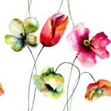 Nahtloses Muster mit Mohnblumen- und Tulpenblumen Stockfotografie