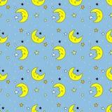 Nahtloses Muster mit Mond und Sternen Lizenzfreies Stockfoto