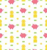 Nahtloses Muster mit Moneybox, Banknoten, Münzen, flache Finanzikonen Stockfotografie