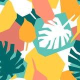 Nahtloses Muster mit monstera und geometrischen Formen lizenzfreie abbildung