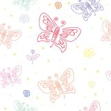 Nahtloses Muster mit Motiven von verschiedenen Schmetterlingen Nahtloses Muster der Schmetterlingsverzierung f?r Wandkunstentwurf stockfotografie