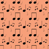 Nahtloses Muster mit musikalischen Anmerkungen Stockfotos