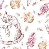 Nahtloses Muster mit Nachtischen Übergeben Sie gezogenen panna Cotta, Muffin, Eiscreme Vektorabbildung für Ihr design Stockfotografie