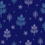 Nahtloses Muster mit Nachtwinterwald lizenzfreie abbildung