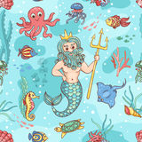 Nahtloses Muster mit Neptun Lizenzfreie Stockbilder