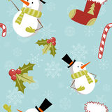 Nahtloses Muster mit nettem Karikatur Weihnachtensnowm Stockbild