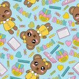 Nahtloses Muster mit netten Bärnmädchen, Bücher und Bleistifte auf der blauen Hintergrundkarikatur, die für Kindertapete passend  Lizenzfreie Stockbilder