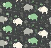 Nahtloses Muster mit netten Babybüffeln und -amerikanischem Ureinwohner sy Lizenzfreie Stockfotos