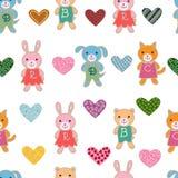Nahtloses Muster mit netten Babytieren Lizenzfreie Stockfotografie