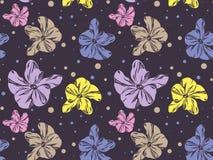 Nahtloses Muster mit netten bunten Orchideen Lizenzfreies Stockfoto