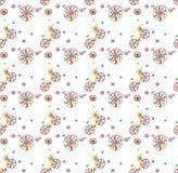 Nahtloses Muster mit netten Gekritzelfahrrädern Stockfotos