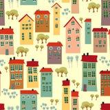 Nahtloses Muster mit netten Häusern Stockbilder