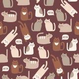 Nahtloses Muster mit netten Katzen Lizenzfreie Stockfotos