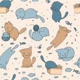 Nahtloses Muster mit netten Katzen Stockbild