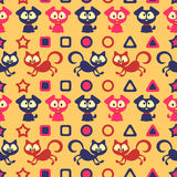 Nahtloses Muster mit netten Katzen und Hunden Stockbild