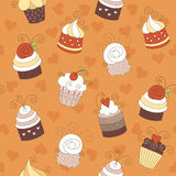 Nahtloses Muster mit netten kleinen Kuchen Stockfoto