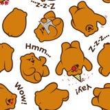 Nahtloses Muster mit netten lustigen Bären - Lesung, denkend, feiern, herein schlafen und sagen Braunbären Guten Tag Stockbild