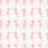 Nahtloses Muster mit netten lustigen tanzenden Schweinen Auch im corel abgehobenen Betrag stock abbildung