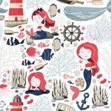 Nahtloses Muster mit netten Meerjungfrauen, Leuchtturm, Fischen, Oberteilen, Anker, Starfish usw. See- oder Ozeanleben Beschaffen Stockbild