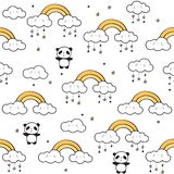 Nahtloses Muster mit netten Pandas, Goldregenbogen, lustige Wolken lizenzfreies stockbild