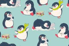 Nahtloses Muster mit netten Pinguinen lizenzfreie abbildung