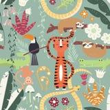 Nahtloses Muster mit netten Regenwaldtieren, Tiger, Schlange, Trägheit Stockfotos