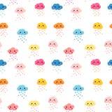 Nahtloses Muster mit netten regnerischen Wolken lizenzfreie abbildung