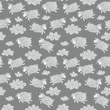 Nahtloses Muster mit netten Schafen und Wolken Stockbild