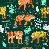 Nahtloses Muster mit netten Tigern im Dschungel Kindischer Tier-Hintergrund der wild lebenden Tiere für Gewebe-Gewebe, Tapete lizenzfreie abbildung