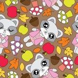 Nahtloses Muster mit netten Waschbärmädchen, -apfel, -pilz und -Ahornblättern Lizenzfreie Stockbilder