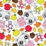 Nahtloses Muster mit netten Waschbärmädchen, -apfel, -pilz und -Ahornblättern Lizenzfreie Stockfotografie