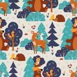 Nahtloses Muster mit netten wilden Tieren in blauem Waldfox, Eichhörnchen, Bär, Hase, Rotwild, Igeles, Schmetterling Lizenzfreies Stockbild